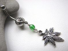 Marijuana Leaf Belly Ring Green Hemp Belly by BitsOffTheBeach, $15.00  Wish I had a reason to buy this.  So cool and sexy.
