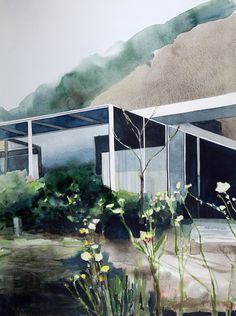 Shulman House and Studio, LA by Amy Park, try architecture inspired by aquarelle. Architecture Panel, Architecture Portfolio, Architecture Drawings, Architecture Design, Parking Design, Science And Nature, Planer, Watercolor Paintings, Exterior