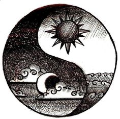 This is the most beautiful ying-yang tattoo idea I have ever seen . I Love this because I want a sun and moon tattoo, and a yin yang tattoo! I recommend this tattoo Yin Yang Tattoos, Tatuajes Yin Yang, Cool Drawings, Drawing Sketches, Hipster Drawings, Tattoo Sketches, Drawing Tips, Good Drawing Ideas, Easy Pen Drawing