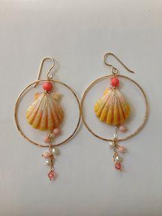 Summer Elegance Sunrise shell hoop earrings by NoeNoeBJewelry