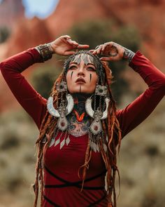 """Morgin Riley on Instagram: """"I always get sad an emotional when I get ready to leave on big trips. I am eager to go but always so sad to leave my beautiful home. Anyone…"""" Wicca, Red Dreads, Boho Fashion, Girl Fashion, Dread Braids, Hippie Goth, Viking Life, Tribal People, Silhouette"""