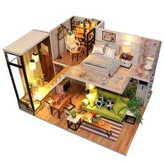 Luerme Maison de Poupée Miniature DIY Maison à Construire Maison Miniature en Kit Mini Maison en Bois avec Lumière Jouet Décoration Accessoire de Poupée Sans Housse D: Amazon.fr: Jeux et Jouets