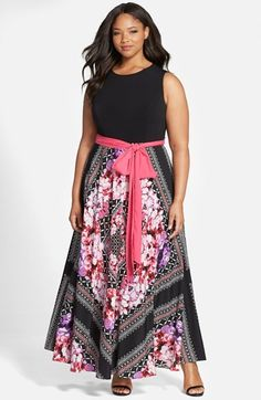 Plus Size Women's Eliza J Scarf Print Jersey & Crepe De Chine Maxi Dress - Buy It Now - ON SALE #affiliatelink
