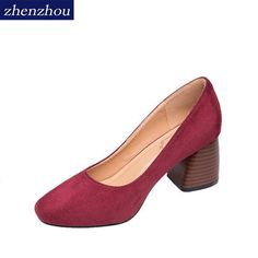 5c1701567b2ad ZHENZHOU shoes woman 2018 new style Spring and autumn Round head shallow  mouth with high heels