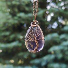 Tree Of Life Necklace, Tree Of Life Pendant, Amethyst Necklace, Pendant Necklace, Celtic Necklace, Amethyst Stone, Unique Necklaces, Pisces, Jewelry Gifts