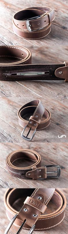 Handmade Mens Leather Belt by JooJoobs. This belt has a secret, hidden pocket sewn into the inside lining. The belt is handmade and will last a lifetime.