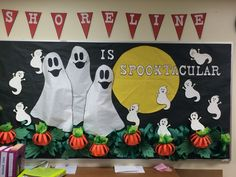 """Spooktacular"" bulletin board in the office of a local elementary school created…"