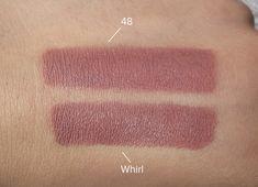 Rimmel London Kate Nude Lipstick in shade 48 vs MAC Matte Lipstick in Whirl, taken in natural daylight.