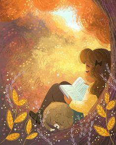 Ideas for landscape illustration photoshop Autumn Illustration, Cute Illustration, Character Illustration, Reading Art, Pics Art, Aesthetic Art, Cartoon Art, Cute Drawings, Cute Art
