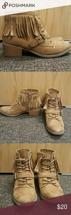 Indigo Rd. Camel booties Cute booties fashioned with fringe, buckle and studs. Indigo Rd.  Shoes Ankle Boots & Booties