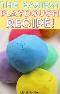 I have tried a hundred different play dough recipes but really wanted to try one that used no salt or cream of tartar! Check now how to make playdough without cream of tartar, flour, salt or bake! Easiest homemade playdough recipe with only 3 ingredients. Playdough Recipe Cook, Koolaid Playdough, Easy Homemade Playdough Recipe, Cooked Playdough, Best Playdough Recipe Without Cream Of Tartar, Craft Projects For Kids, Diy Crafts For Kids, Art Projects, Kids Diy