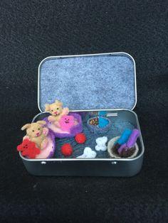Miniature plush felt dog in Altoids tin play set