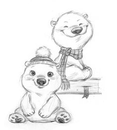 I'm feeling all Christmassy :) Polar bear designs by `imaginism on deviantART Polar Bear Cartoon, Polar Bear Drawing, Cute Polar Bear, Polar Bears, Cute Bear Drawings, Cartoon Drawings, Bear Design, Animal Design, Animal Sketches