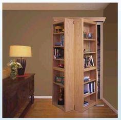 Secret Closet Bookcase Folding Door to put over sliding closet doors - COOL Cabinet Doors, House Design, Shelves, Home, Bookshelves, Bookcase Door, Bookshelf Closet, Sliding Closet Doors, Bookshelf Door
