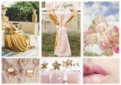 Soft Pink and Shiny Gold Inspiration Boards, Simple Weddings, Table Decorations, Pink, Gold, Home Decor, Decoration Home, Room Decor, Roses