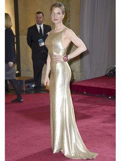 Renee Zellweger in a gold Carolina Herrera gown.