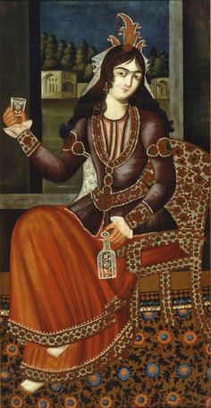 Iran, Tehran, Qajar painting of a Seated Woman, oil on cotton, late 18th century