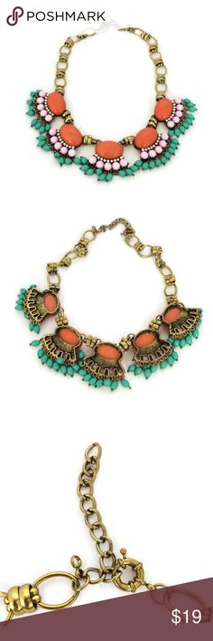 Spotted while shopping on Poshmark: J Crew Statement Necklace Coral Teal Pink! #poshmark #fashion #shopping #style #J. Crew #Jewelry