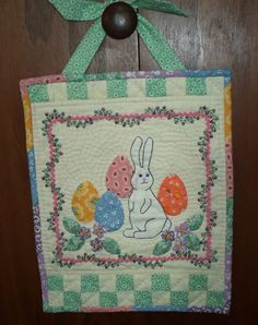 Bunny Quilted Door Hanger by QuiltShenanigans on Etsy, $25.00