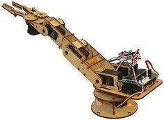 Robotic arm DIY kit Lasercut Plywood Structure 6servos, AT89S51 MCU+USB ISP tool