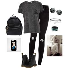 Punk/Rock N' Roll by hanakdudley on Polyvore featuring Dr. Martens, Dsquared2, Miss Selfridge, women's clothing, women's fashion, women, female, woman, misses and juniors
