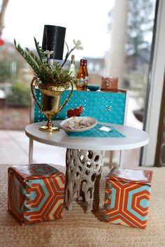 1:6 Scale Modern Turquoise Sea and Orange Sunset Dining Nook and Credenza. $80.00, via Etsy.