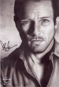 """Drawing actor Ian Bohen, star of TV Series """"Teen Wolf"""" (Peter Hale). Autographed by actor at Nemeton Itacon 2015."""