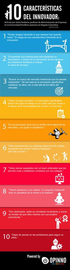 10 características del Innovador #infografia #infographic #innovaton Por: http://www.opinno.com