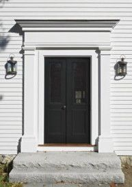 Exterior Front Door Trim Porches Ideas For 2019 Front Door Molding, Front Door Trims, Black Front Doors, Double Front Doors, Front Door Colors, Colonial Front Door, Colonial Exterior, Exterior Door Trim, Garage Door Trim