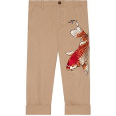 Gucci Cotton Pant With Fish Appliqué ($1,025) ❤ liked on Polyvore featuring men's fashion, men's clothing, men's pants, men's casual pants, cotton, denim, men, ready-to-wear, gucci mens pants and mens cotton pants