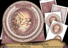 Snowy Village H Christmas 8in Round Ruffle Mini Card Kit on Craftsuprint - Add To Basket!