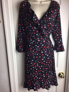 MODA International Victoria's Secret Black HEART Wrap Dress size MEDIUM M #ModaInternational #WrapDress