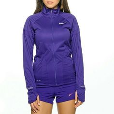 NIKE RUNNING JACKET XS but it could fit size small WEATHER-READY WARMTH AND BREATHABILITY Colour: Court Purple / Reflective Silver  The Nike Element Shield Full-Zip Women's Running Jacket helps protect you from the elements while keeping you comfortable with powerful weather resistance, warm Dri-FIT fabric and excellent breathability. Nike Jackets & Coats