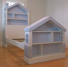 Cottage Dollhouse Bed recalls the timeless imaginations of little girls and offers hours of creative play and sweet dreams. This artfully furnishing features a scalloped roof, picket fence and planked background. It is sure to be a treasured bedroom heirloom for years to come. It can be ordered as all one solid color or main color applied to house walls and interior shelves with a contrast color applied to roof, windows, fence and back slats. Available in Twin or Full. Our Cottage Collection…