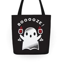 Get graveyard smashed with this cute spooky ghost! This fun Halloween totes features an illustration of a ghost double fisting wine goblet