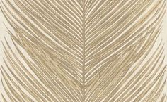 Mey Fern (NCW4154-01) - Nina Campbell Wallpapers - An over-scaled feather fern leaf design, creating a bold stripe. Shown in the gold on opal white.  Please request sample for true colour match.