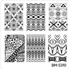 BM-S310 Festival tribal ethnic cultural patterns stripes lines geometric triangles zigzags chevrons nail stamping plate