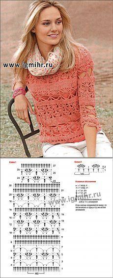 Кружевной розовый пуловер. Крючок