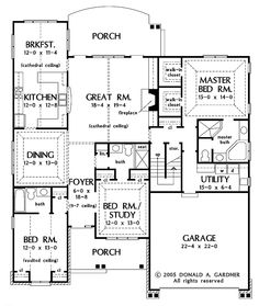 Floor Plans AFLFPW24667 - 1 Story New American Home with 3 Bedrooms, 3 Bathrooms and 2,159 total Square Feet