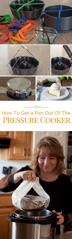 How To Get a Pan Out Of The Pressure Cooker (Instant Pot) When you're cooking pot in pot in the pressure cooker, you need a sling or helper to easily remove the hot pot after pressure cooking. Slow Cooker Pressure Cooker, Electric Pressure Cooker, Instant Pot Pressure Cooker, Fast Cooker, Rice Cooker, Pressure Cooking Recipes, Cooking Tips, Cooking Quotes, Couple Cooking