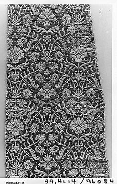 Piece ~ 16th century ~ Spain ~ silk and linen ~ woven textiles ~ Metropolitan Museum of Art