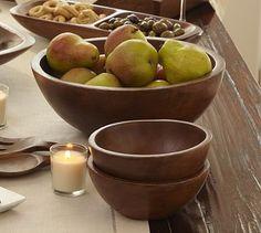 Vintage Wood Serve Bowls, Set of 4 small and Large Serve Bowl, $90 #decor #kitchen #diningroom