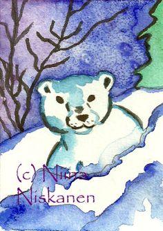 Polar bear cub Animal ACEO Print by fairychamber on Etsy, €3.00