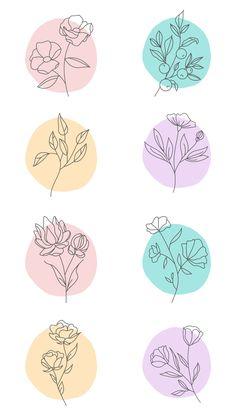 Journal Stickers, Scrapbook Stickers, Mini Drawings, Art Drawings, Watercolor And Ink, Watercolor Paintings, Bullet Journal Art, Flower Doodles, Aesthetic Stickers