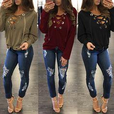 Autumn Lace Cross Sweatshirt Blouse