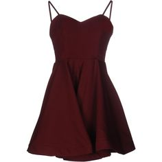 Glamorous Short Dress ($64) ❤ liked on Polyvore featuring dresses, maroon, pocket dress, sleeveless cocktail dress, red mini dress, deep v-neck dress and flare mini dress