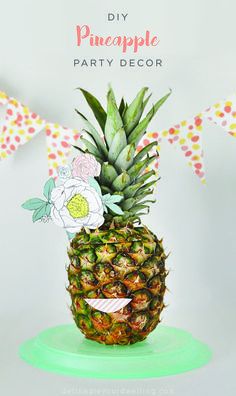 Get more use out of a hollowed out pineapple with this creative DIY party decor idea. Use your empty pineapple as a springy table accessory by decorating it with colorful paper flowers. Get the flowers to stand up tall by attaching them to wooden skewers and voila! Your table scape is complete.