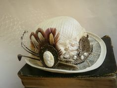 The Travelling Photographer Mini Bowler. Steampunk Cream Color Mini Bowler Derby Hat.