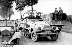 German General Heinz Guderian in a SdKfz. 251/3 halftrack vehicle, France, May 1940