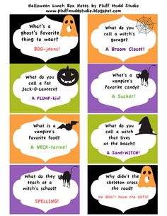 free halloween joke printables for lunch box notes, etc Sac Halloween, Halloween Riddles, Theme Halloween, Halloween Cards, Holidays Halloween, Halloween Treats, Happy Halloween, Halloween Worksheets, Halloween Projects